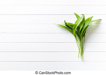 Fresh ramsons leaves Wild garlic leaves Healthy vegetable