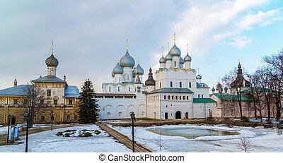 Rostov Veliky, Russia - churches in Kremlin - Rostov Veliky,...