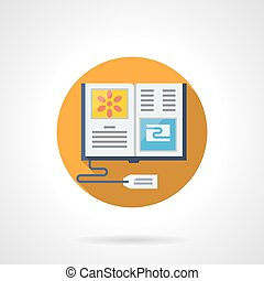 Sale books online flat color round vector icon