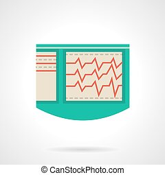 Electrocardiograph flat color vector icon -...