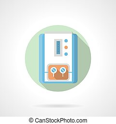 Gas water heater flat color round vector icon - Household...