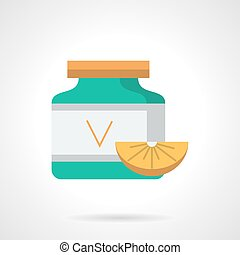 Ascorbic acid flat color vector icon - Green vitamins jar...