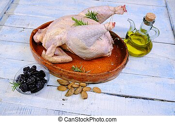 Whole chicken on plate