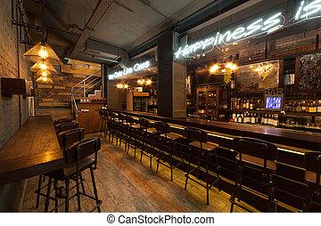 Interior of pub.