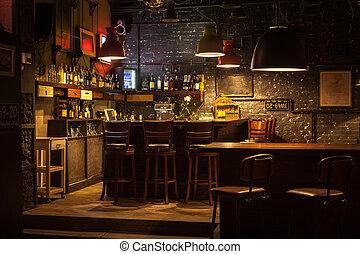Interior of pub. - This is interior of modern european pub.
