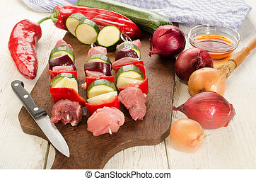 hungarian paprika skewers with pork are prepared - hungarian...