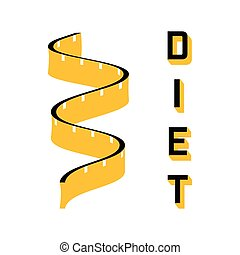 Diet - a symbol of a of a measuring tape Modern vector icon...