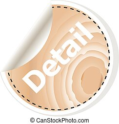 detail word on vector business wooden app icon isolated on white background.