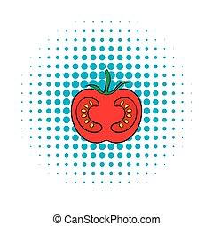 Red tomato icon, comics style - Red tomato icon in comics...