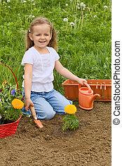 poco, giardinaggio, ragazza