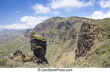 Gran Canaria, Caldera de Tejeda in May, rock formations