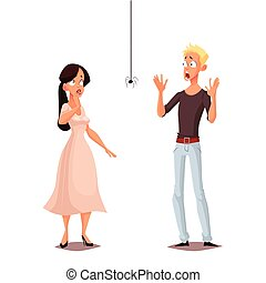Madly frightened man and woman vector cartoon comic...