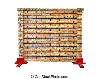 brick stone prefabricated fence section isolated over white...