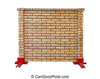 brique, pierre, préfabriqué, barrière,...