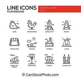 Conjunto, iconos, diseño, patio de recreo, línea, niños