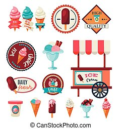 Vintage ice cream label set template isolated on white...