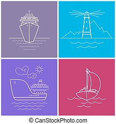 Set of Bright Color Maritime Icons - Icons Cruise Ship,...