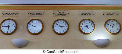 different time onen on earth - multiple clocks with the...