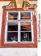 czech republic, cesky krumlov, window - a window in the...