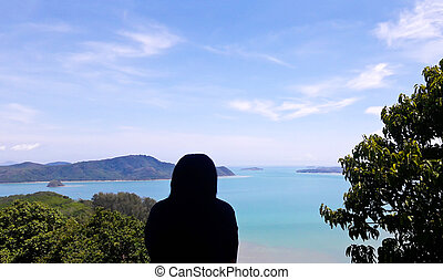 Girl Silhouette wite High angle view sea sky and seaside...