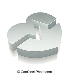 3d metallic Heart icon with reflection, vector illustration.
