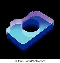 3d neon glowing Photo Camera icon made of glass, vector...