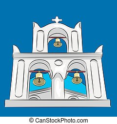 Vector Greek church - Greek church and bell tower with a...