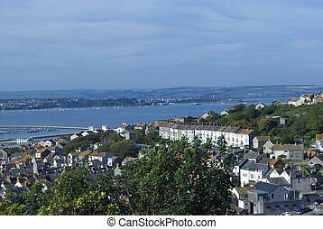 Aerial view,The Isle of Portland,UK - Aerial view of The...