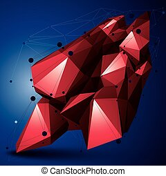 Geometric red polygonal structure with lines mesh, modern...