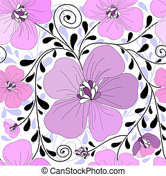 Seamless floral pattern with curls and leaves (vector)