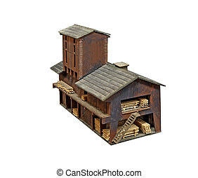 Old model sawmill - Old wooden model sawmill for train...