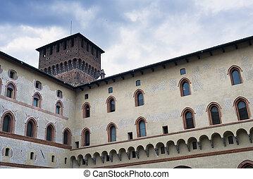 Milan: Castello Sforzesco, court - Milan Lombardy, Italy -...