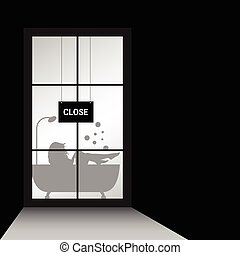 girl in bathtub behind window illustration