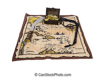 Pirate Map and Treasure