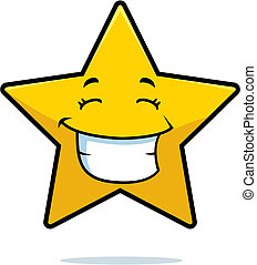 Star Smiling - A cartoon gold star happy and smiling
