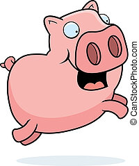 Pig Jumping - A happy cartoon pig jumping and smiling