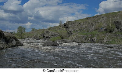 Ural river with rapid current. nature sceen