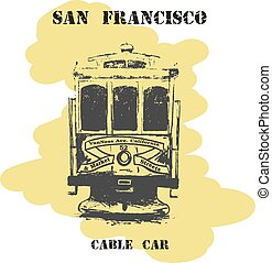 Vintage hand drawn San Francisco cable car.