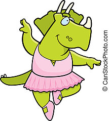 Dinosaur Ballerina - A happy cartoon dinosaur ballerina in a...