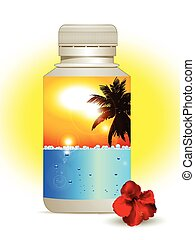Summer holidays in a bottle background