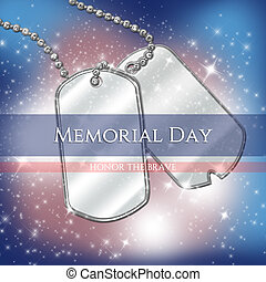 Memorial Day illustration with identification tags and...