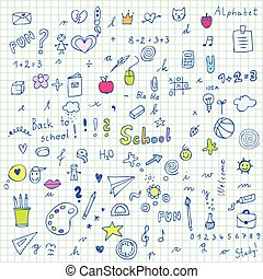 Back to school - freehand drawings of school items - set of school doodles