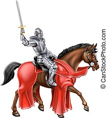 Knight on Horse Holding Sword - A knight holding a sword on...