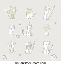 Cats - Freehand drawings - Set of cat illustrations