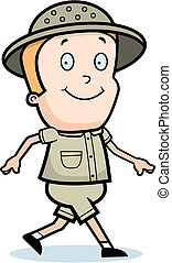 Explorer Walking - A happy cartoon explorer walking and...