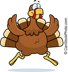 Turkey Running - A happy cartoon turkey running and smiling.