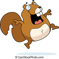 Squirrel Jumping - A happy cartoon squirrel jumping and...