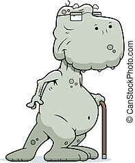 Old Dinosaur - A happy cartoon old dinosaur with a cane.