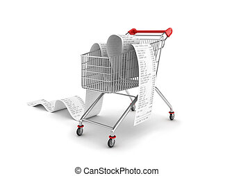 Shopping Trolley With long Receipts Over White Background
