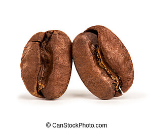 two coffee beans isolated on white background